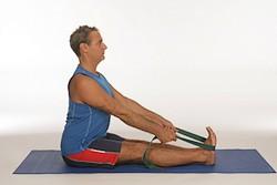 Yoga straps for stretching: paschimottanasana